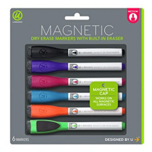 U Brands Low Odor Magnetic Dry Erase Markers With Erasers