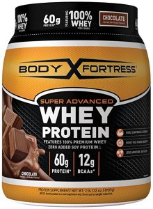 Body Fortress chocolate flavored whey protein for women