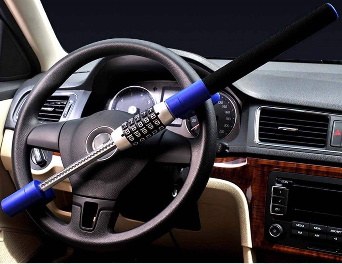 Anti Theft Steering Wheel Lock Double Hook Extendable Car Van Steel Security