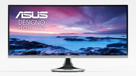 "ASUS Designo Curved MX34VQ 34"" UWQHD 100Hz DP HDMI Eye Care Frameless Monitor with Adaptive-Sync"