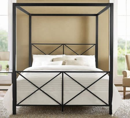 DHP Rosedale Metal Canopy Bed, black, Queen