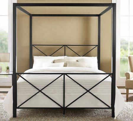 DHP Rosedale Metal Canopy Bed, black, Queen