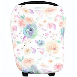 Baby Car Seat Cover Canopy and Nursing Cover Multi-Use Stretchy 5 in 1 Gift, Car Seat Canopy