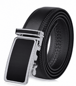 VBIGER, Men's Leather Belt Sliding Buckle 35mm Ratchet Belt Black