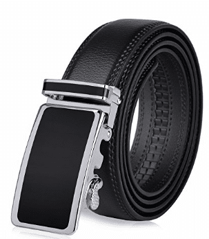 VBIGER, Men's Leather Belt Sliding Buckle 35mm Ratchet Belt Black