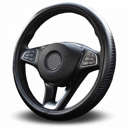 Vitodeco Odorless Luxury Genuine Leather Steering Wheel Cover