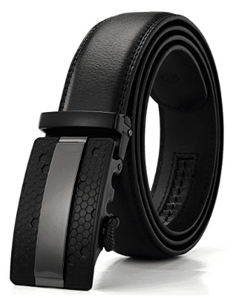 Xhtang, Men's Solid Buckle with Automatic Ratchet Leather Belt