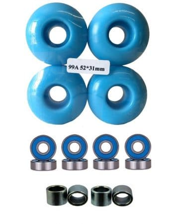 52mm Wheels w/ Bearings & Spacers
