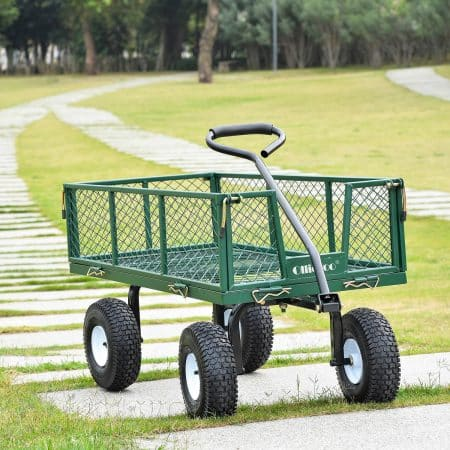 Ollieroo Utility Wagon Farm and Ranch Heavy-Duty Steel Garden Cart