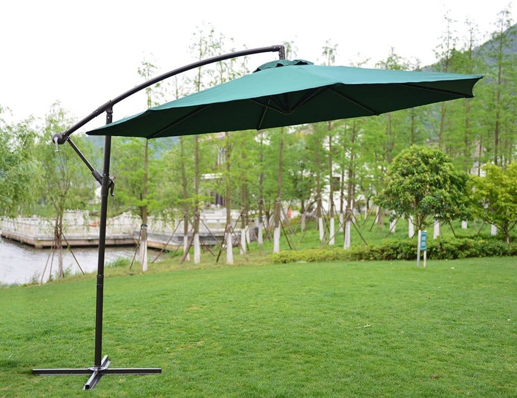 PatioPost 10-Feet Offset Hanging Patio Umbrella with UV Resistant Protect Cover