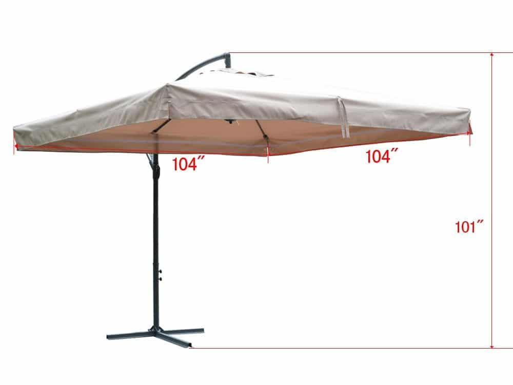 TMS Offset Umbrella With Removable Mosquito Bug Mesh Net