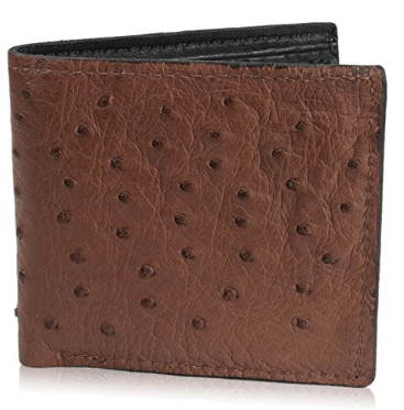 Genuine Ostrich Skin Leather Bifold Wallet with 8 Card Slots