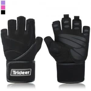 """Trideer Padded Anti-Slip Weight Lifting Gloves with 18"""" Wrist Wraps"""