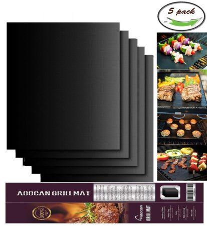 Aoocan Grill Mat Set of 5- 100% Non-stick BBQ Grill & Baking Mats
