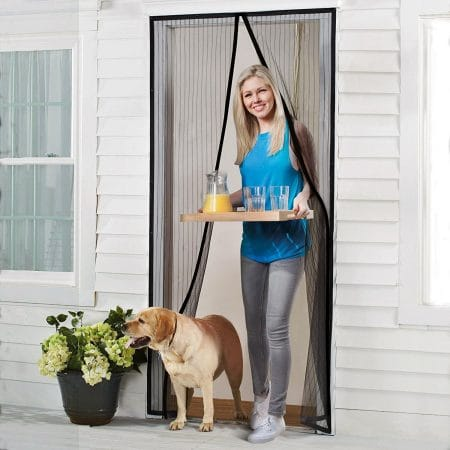 Homitt Magnetic Screen Door with Heavy Duty Mesh Curtain and Full Frame Velcro Fits Door Size up to 36-82 Max- Black