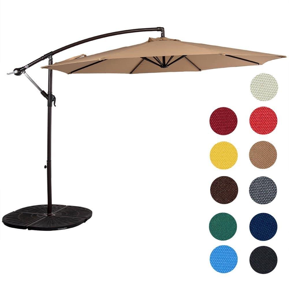 Sundale Outdoor 10 Feet Aluminum Offset Patio Umbrella With Crank, 8 Steel  Ribs (Tan