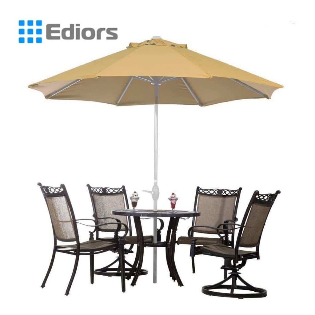 Ediors® Deluxe Ivory 9 Ft Cantilever Hanging Patio Umbrella Freestanding Outdoor Parasol Adjustable Market Umbrella