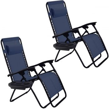 Goplus 2PC Zero Gravity Chairs Lounge Patio Folding Recliner Outdoor Yard Beach With Cup Holder(Blue)