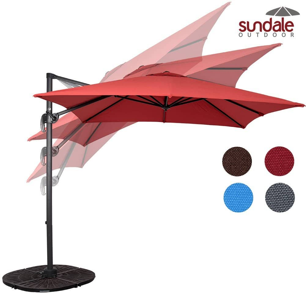 Sundale Outdoor 8.2ft Square Hanging Roma Offset Umbrella Outdoor