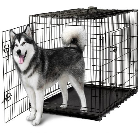 "48"" Dog Crate Double-Door Folding Metal - Wire Cage with Divider for Training Pets - XXXL 48"" x 29"" x 32"""