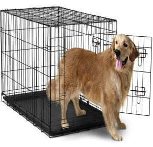 OxGord 42 inches Dog Crate with Divider, Double-Doors Folding Pet Cage