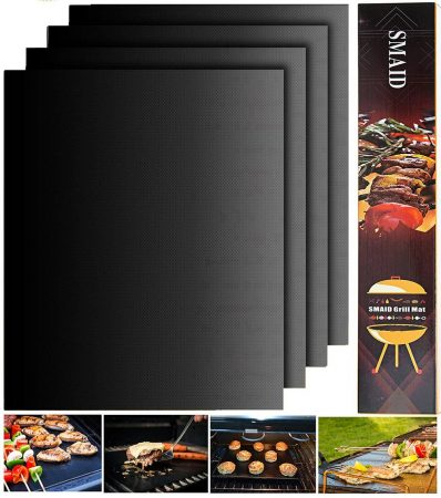 Smaid - Grill Mat Set of 4 - 100% Non-stick BBQ Grill Mats - FDA-Approved