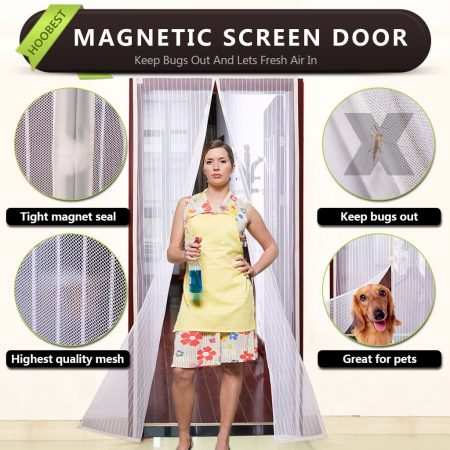 White Magnetic Screen Door,Heavy Duty Mesh Screen & Full Frame Velcro-Keep Bugs out