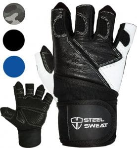 Steel Sweat, Weightlifting Gloves with over 18-inch Wrist Wrap Support for Workout