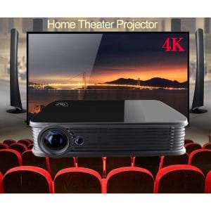 4K Projector,Deeirao Android5.1 DLP Home Theater Projector Mini Portable Build in Wifi Quad Core CPU Full 3d Screen Zoom Bluray 3d VGA Usb Av Hdmi Bluetooth4.0 4K TV Chips LED Lamp Black