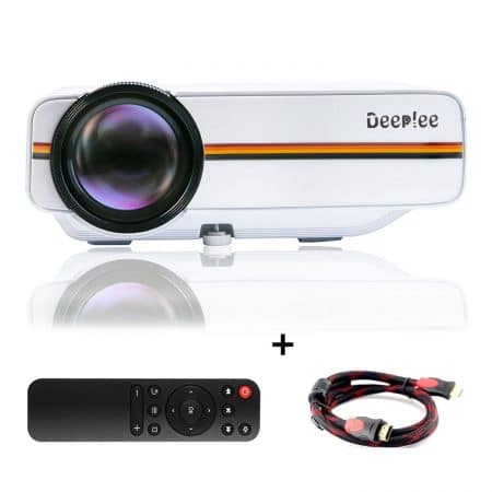 "Deeplee DP400 Mini Projector, Support HD 1080P Full Color Max 130"" Screen LED LCD Home Cinema Theater Projector with HDMI/AV/VGA/USB/SD"