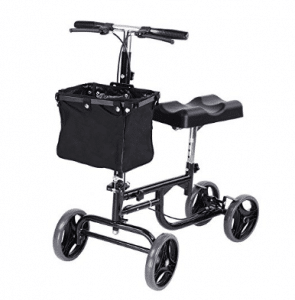 AW Adjustable Knee Scooter Walker w/ Basket Steerable Rolling Wheel Weight Capacity 300 lbs
