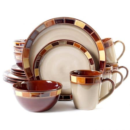 Gibson Casa Estebana 16-piece Dinnerware Set Service for 4, Beige and Brown