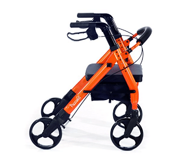 "Comodità Piccola (Petite) Heavy Duty Rolling Walker with Comfortable 15"" Wide Seat - Metallic Orange"