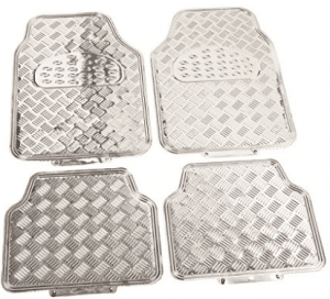 BDK Universal Fit 4-Piece Metallic Design Car Floor Mat