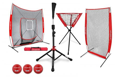 PowerNet (All in One Bundle) DLX Baseball Softball Net w Strike Zone, Training Ball, I-Screen, Travel Tee, and Ball Caddy