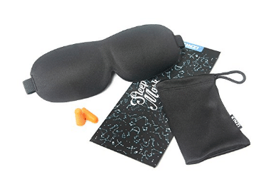 Kinzi Dream Weave Contoured Sleep Mask Includes Carrying Pouch & Ear Plugs for Travel