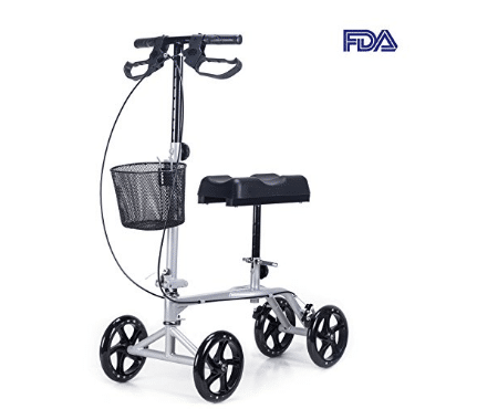 "CO-Z Steerable Foldable Knee Walker Roller Scooter with Basket, 8"" Antiskid Rubber Wheels"
