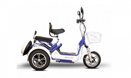 E-Wheels - EW-27 Crossover Pre-Mobility Scooter - 3-Wheel - White/Blue - PHILLIPS POWER PACKAGE TM