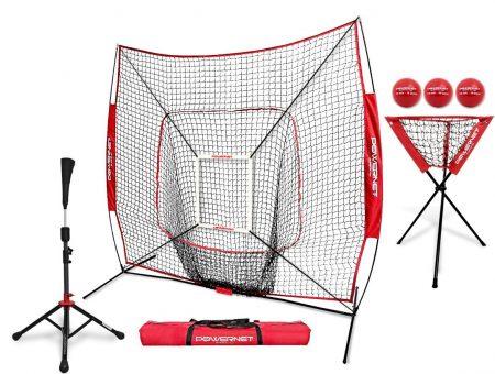 PowerNet DLX Pro Bundle (Baseball Softball Net w/ Strike Zone, 3 Training Balls, Travel Tee, & Ball Caddy)