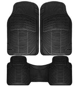 OxGord Universal Fit 3-Piece Full Set Ridged Heavy Duty Rubber Floor Mat