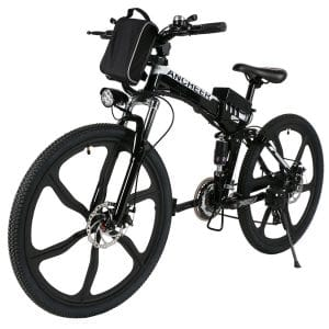 "ANCHEER Folding Electric Mountain Bike with 26"" Super Lightweight Magnesium Alloy 6 Spokes Integrated Wheel, Electric Mountain Bikes"