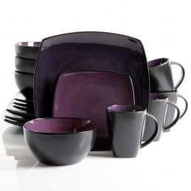 Gibson Soho Lounge 16-Piece Square Reactive Glaze Dinnerware Set, Purple.