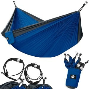Legit Camping - Double Hammock - Lightweight Parachute Portable Hammocks for Hiking , Travel , Backpacking , Beach , Yard .