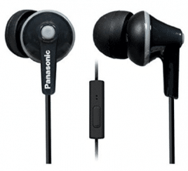 Panasonic ErgoFit In-Ear Earbuds Headphones with Mic/Controller RP-TCM125-K, Waterproof Bluetooth Headphones
