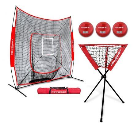PowerNet DLX Baseball Softball 7x7 Practice Net Bundle w/Strike Zone, Ball Caddy + 3 Training Balls