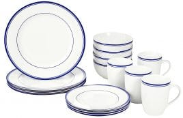 AmazonBasics 16-Piece Cafe Stripe Dinnerware Set, Service for 4 - Blue