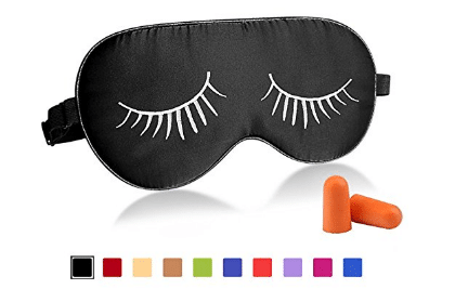 Fitglam Natural Silk Sleep Mask with Eyelashes Patterns & Free Ear Plugs