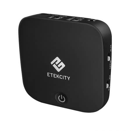 Etekcity 2-in-1 Bluetooth Receiver Transmitter Digital Optical Toslink and 3.5mm Wireless Audio Adapter for TV Home Car Stereo System, Bluetooth 4.1, A2DP, aptX LL (Black)