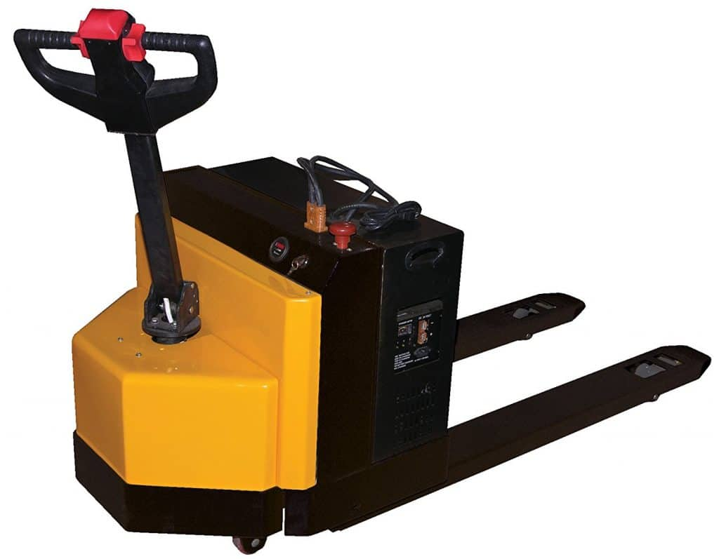 "Beacon Fully Powered Electric Pallet Truck; Capacity (LBS): 4,500; Fork Size (W x L): 27"" x 96""; Service Range: 3.2"" x 8.2""; Overall Size (W x L x H): 30"" x 125"" x 51""; Model# BEPT-2796-45"