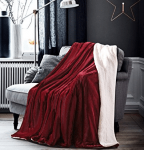 HoroM Soft Cozy Fluffy and Warm Sherpa Throw Blankets 50x60 Wine Red Throw Blankets for Bed or Couch